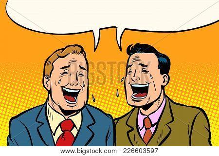 The Two Friends Laugh. Comic Book Cartoon Pop Art Retro Vector Illustration Drawing
