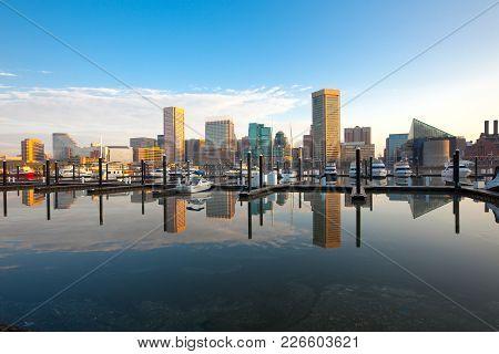 Downtown City Skyline, Inner Harbor And Marina, Baltimore, Maryland, Usa