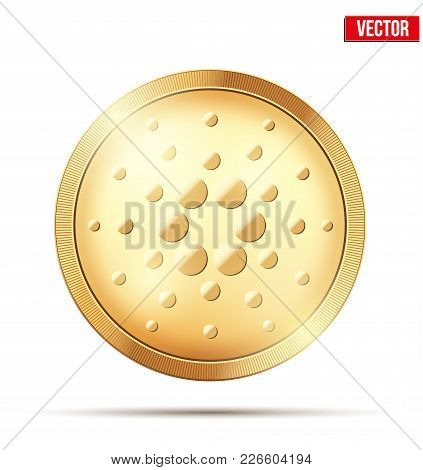 Gold Coin With Cardano Ada Cryptocurrency Sign. Money And Finance Symbol. Vector Illustration Isolat
