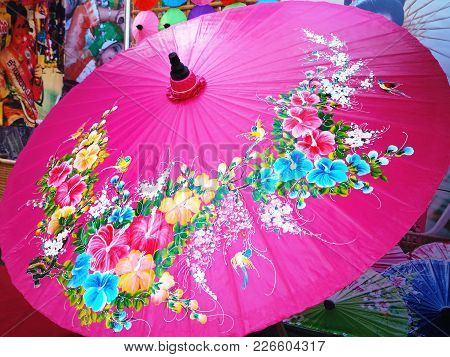 Traditional Parasol Displayed On The Street During The Annual Festival (displaying To Public And All