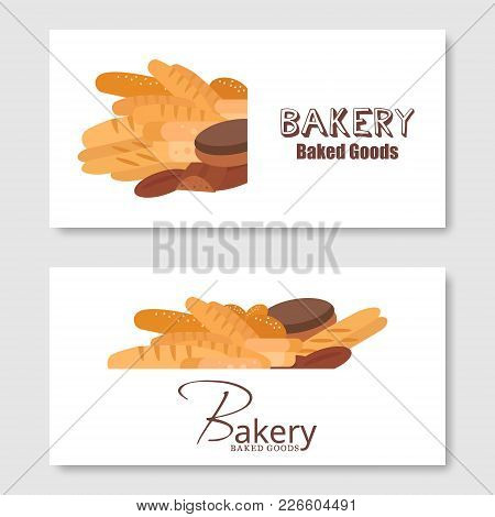 Bakery Flyer Background Vector Flat. Bread And Pastries Banner Set.