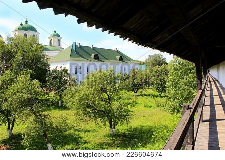 An Ancient Wooden Barrier Building In Novhorod-siverskii. Ancient Slavonic Architecture Of Novhorod-