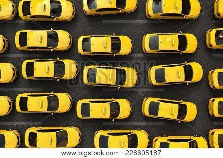 3d Rendering Of A Traffic Jam Of Yellow Taxis