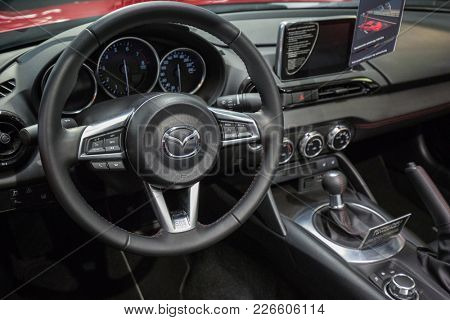 GDANSK, POLAND - FEBRUARY 13, 2018: Interior of Mazda MX-5 in the car showroom of Gdansk, Poland. Mazda MX-5 is a cabrio sport car manufactured in Japan by the Mazda Motor Corporation.