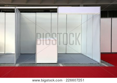 Empty Exhibition Trade Fair Stand Booth Kiosk