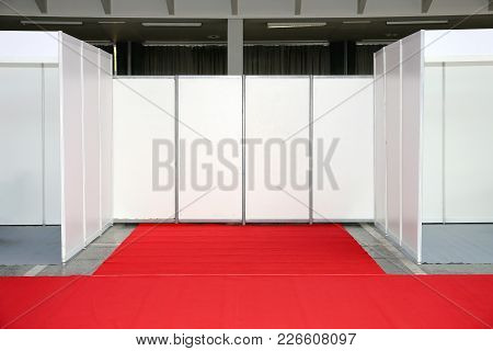 Empty Exibition Trade Space With Red Carpet