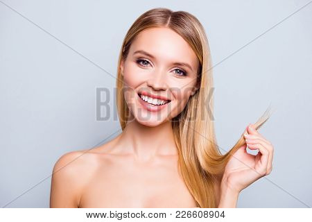 I Don't Need To Cut The Ends! Close Up Portrait Of Happy Charming Attractive Gorgeous Glad Woman Wit