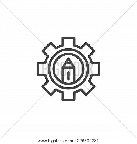 Pencil In Gear Outline Icon. Linear Style Sign For Mobile Concept And Web Design. Design Settings Si