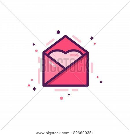 Love Message Icon With Heart, Happy Valentines Day Flat Concept. Holiday Pictogram For Brochures, Fl