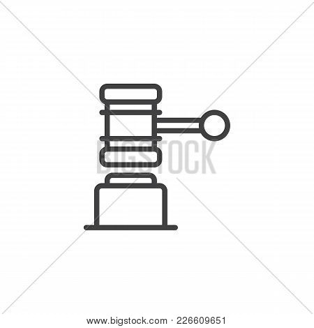 Judge Gavel Outline Icon. Linear Style Sign For Mobile Concept And Web Design. Law Simple Line Vecto