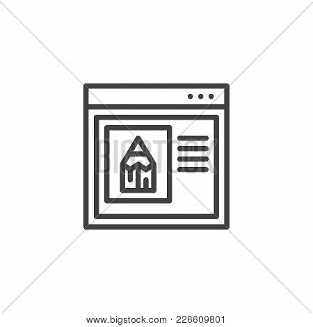 Internet Browser With Pencil Outline Icon. Linear Style Sign For Mobile Concept And Web Design. Edit