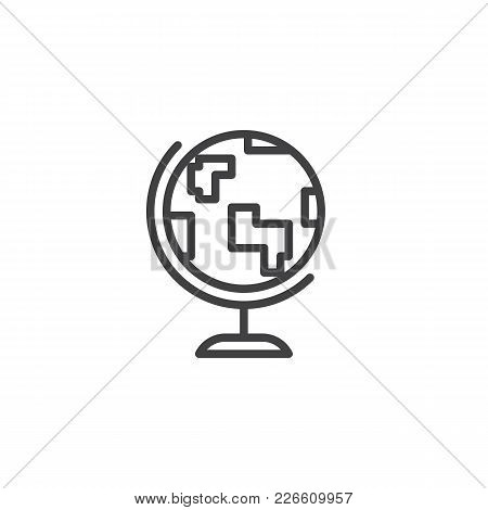 Earth Globe Outline Icon. Linear Style Sign For Mobile Concept And Web Design. Geography Simple Line