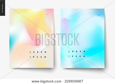 Abstract Background Posters Set - Wavy Liquid Shapes For Branding Style, Covers And Backdrops