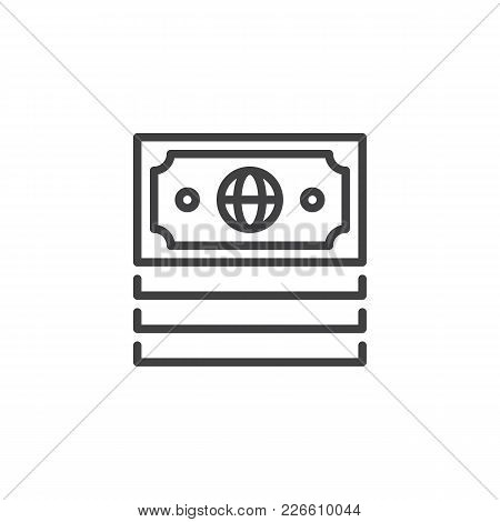 Money Outline Icon. Linear Style Sign For Mobile Concept And Web Design. Economy Simple Line Vector