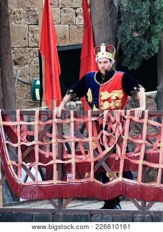 Acre, Israel, April 09, 2015 : Member Of The Knight Tournament, Dressed Like King Richard The Lionhe