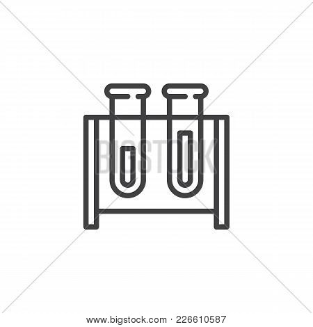 Test Tubes Outline Icon. Linear Style Sign For Mobile Concept And Web Design. Chemistry Simple Line