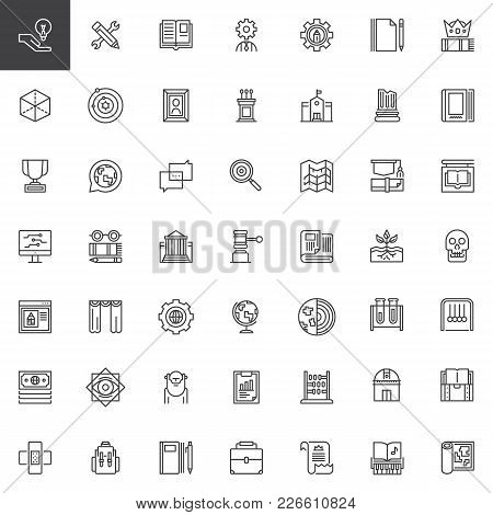 Knowledge Outline Icons Set. Education Linear Style Symbols Collection, Line Signs Pack. Vector Grap