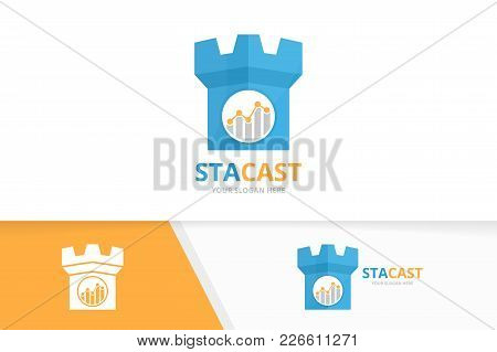 Vector Graph And Castle Logo Combination. Diagram And Tower Symbol Or Icon. Unique Chart And Fortres