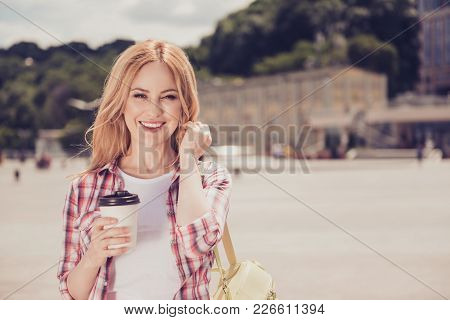 It's So Wonderful Place! Pretty Cheerful With Toothy Smile Carefree Relaxed With Blonde Hair Dressed