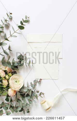 Feminine Wedding, Birthday Desktop Mock-ups. Blank Craft Paper Greeting Card, Envelope. Eucalyptus B