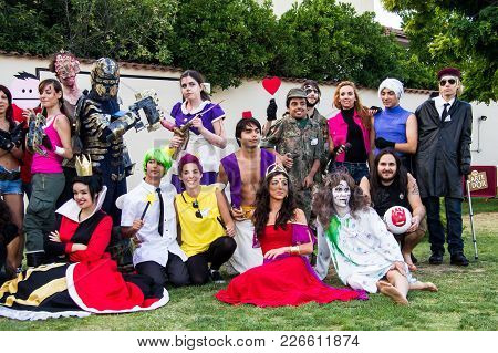 Selargius, Italy - June 29, 2014: The Enchanted Garden In Cosplay, Group Photo Of The Participants I