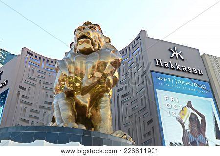 LAS VEGAS,USA - October 09 2017 - Lion statue at Las Vegas MGM Grand Casino Hotel on the Las Vegas S