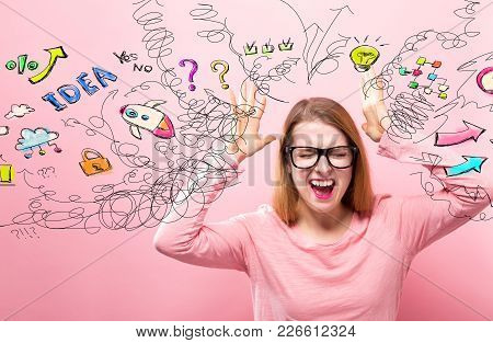 Many Thoughts With Young Woman Feeling Stressed On A Pink Background