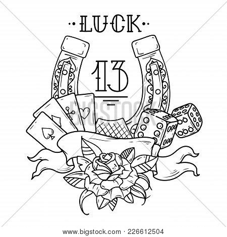 Tattoo Horseshoe With Playing Cards, Dice, Rose , Shamrock Clover And Number 13. Good Luck Tattoo. S