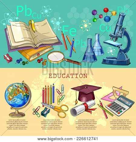 Education infographic. Modern education elements. Open book of knowledge. Symbol of science and education. Back to school infographic banner poster