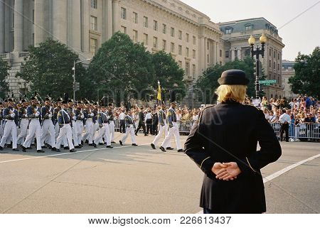 West Point Cadets Marching In The Ronald Reagan Funeral Procession On Constitution Avenue, Washingto