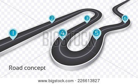 Winding 3d Road Concept On A Transparent Background. Timeline Template. Vector Illustration