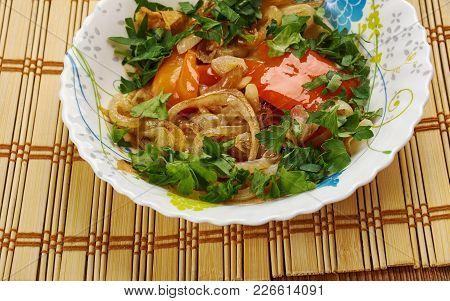 Tajik Dish With Pita Bread