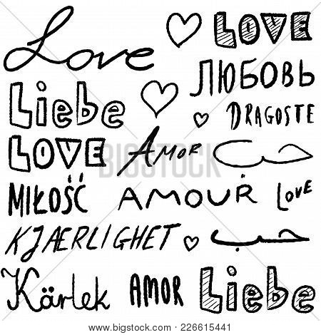 Love Words In Various Languages - Vector Illustration Handwritten Text.