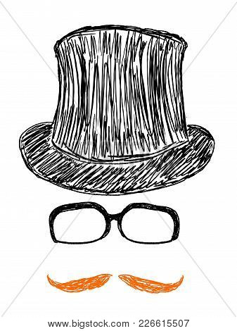 Hipster Objects Set Doodle - Glasses, Top Hat And Moustache Vector Illustration.