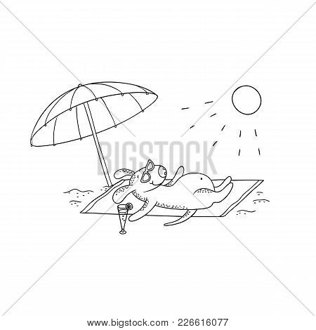 Vector Black-white Sketch Funny Cartoon Puppy. Character Dog Sunbathing In The Sun On The Beach Unde