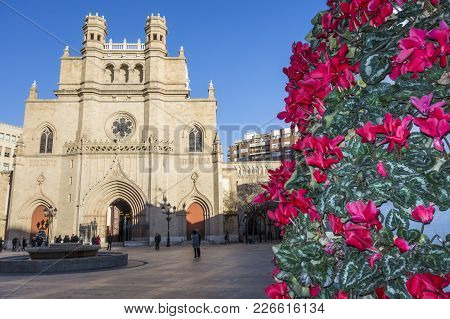 Castellon,spain-january 30,2018: Cathedral Of Saint Mary, Gothic Style,plaza Mayor,main Square.caste