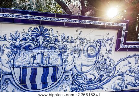Castellon,spain-january 30,2018: Park, Parque Ribalta, Public Garden City Center,ceramic Bench.caste