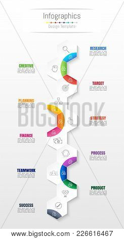 Infographic Design Elements For Your Business Data With 10 Options, Parts, Steps, Timelines Or Proce