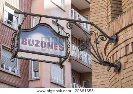 Castellon,spain-january 30,2018: Artistic Sign Buzones, Mailboxes In Building Post,correos,modernist