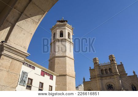 Castellon,spain-january 30,2018: Bell Tower And Co-cathedral Of Saint Mary In Plaza Mayor,main Squar