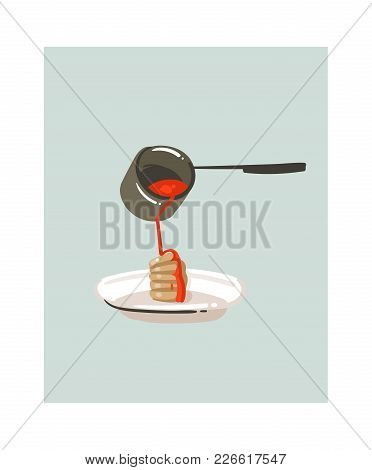 Hand Drawn Vector Abstract Modern Cartoon Cooking Time Fun Illustrations Icon With Pancake And Syrup