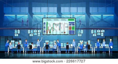 Business Team Work Success Concept. Online Trading. Brokerage Trading On The Stock Exchange Vector I
