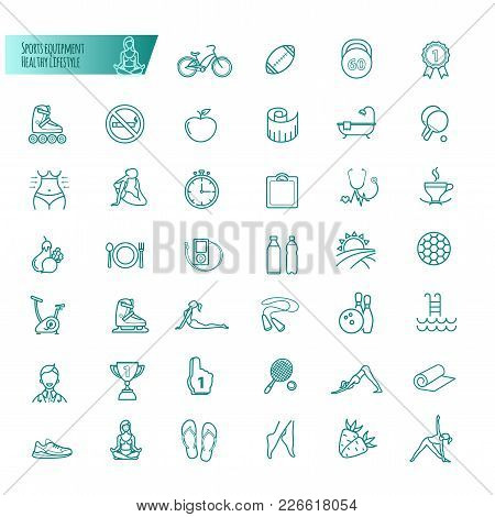 Sport, Sports Equipment, Healthy Lifestyle Icons Set For Your Design