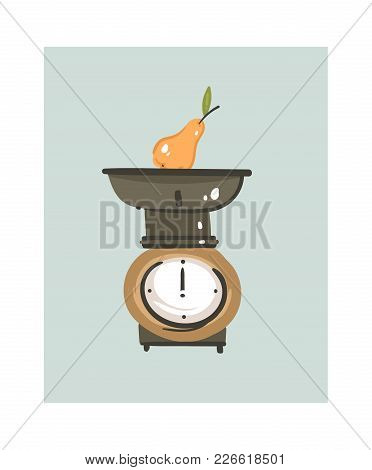 Hand Drawn Vector Abstract Modern Cartoon Cooking Time Fun Illustrations Icon With Retro Vintage Kit