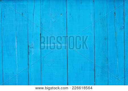 Backround Of Blue Painted Wooden Fence Boards, Turquoise Wooden Texture