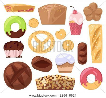 Bakery Vector Baking Pastry Bread Or Loaf And Baked Donut For Breakfast Illustration Muffin And Cupc