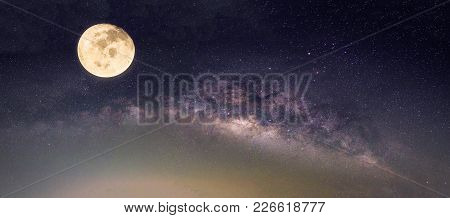Landscape With Milky Way Galaxy. Night Sky With Stars And The Full Moon. (elements Of This Moon Imag