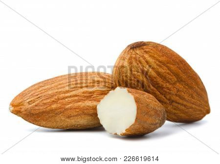 The Closeup Almonds Isolated On White Background.