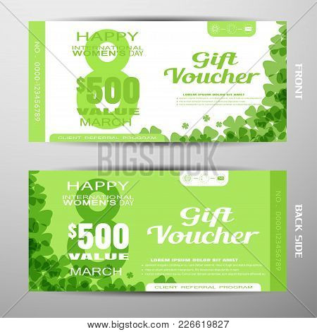 Set Of Vector Discont Voucher For 8 Of March - International Women's Day On The Green Background Wit