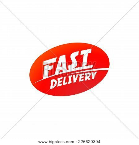 Delivery And Shipping Logo. Vector Fast Delivery Sign. Fast Delivery Typographic Inscription On Red